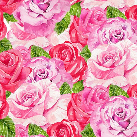 Heart and Soul Cotton Fabric Valentine's Day Roses  Henry Glass