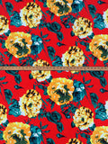 Cabbage Rose ITY Knit Fabric Briight Floral  Appare   the Yard