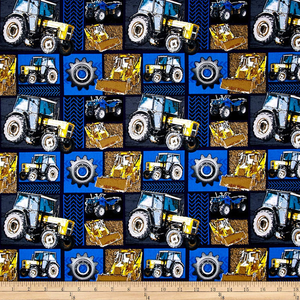 Construction Zone Big Machinery Cotton Fabric David By the Yard MVS