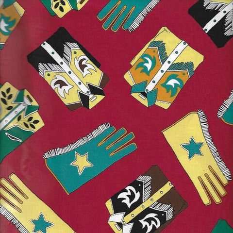Cowboy Western Wear Shirts and Gloves Blank Quilting  By the Yard