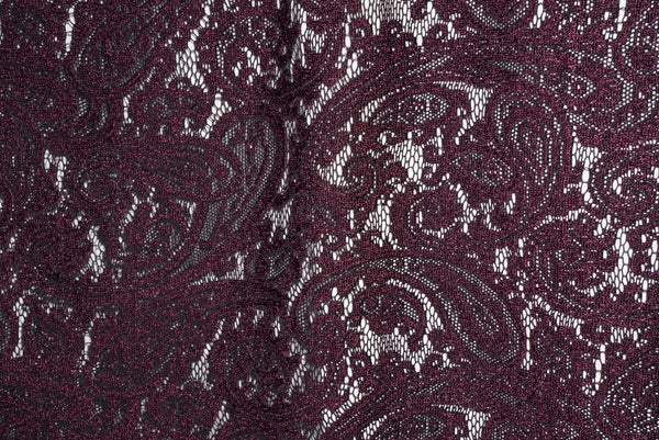 Purple  Corded Floral Lace Polyester Special By the Yard