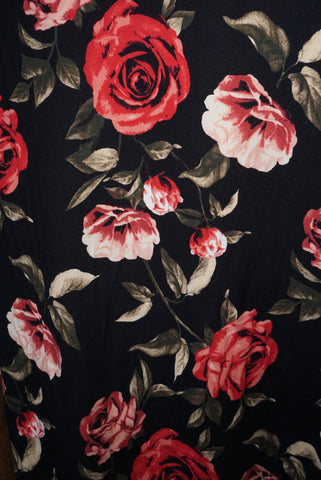 Double Brushed Jersey Knit Fabric Rose Blooms  Apparel Floral  BY the Yard