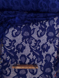 Bright  Blue  Floral Lace Polyester Crochrt Look  By the Yard