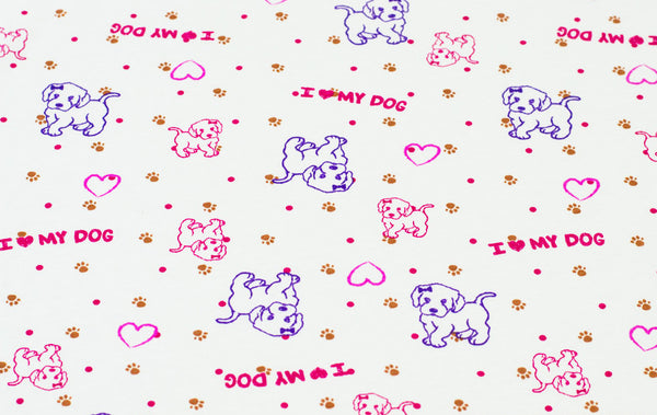 I Love My Dog Rib Knit Cotton Lycra Fabric BY the Yard