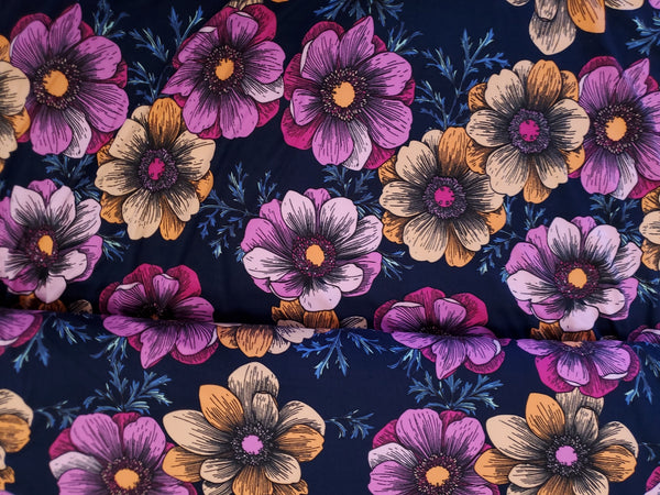 Double Brushed Jersey Knit  Fabric  Mum Apparel Floral  BY the Yard