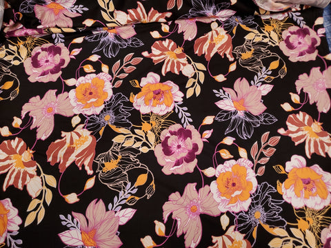 Art Deco  Floral  Lycra Jersey Knit Fabric  BY the Yard