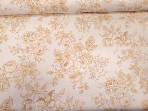 Rose Tonal Floral Cotton Civil War Reproduction Fabric By the  Yard
