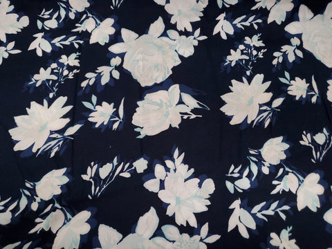 Floral Rayon Challis Fabric Roses Flora Black   By the Yard