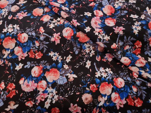Rose Floral  Crepe  Apparel Fabric By the Yard
