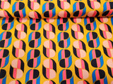 Sixties Retro Geometric Vibe  Lycra Jersey Knit Fabric  BY the Yard