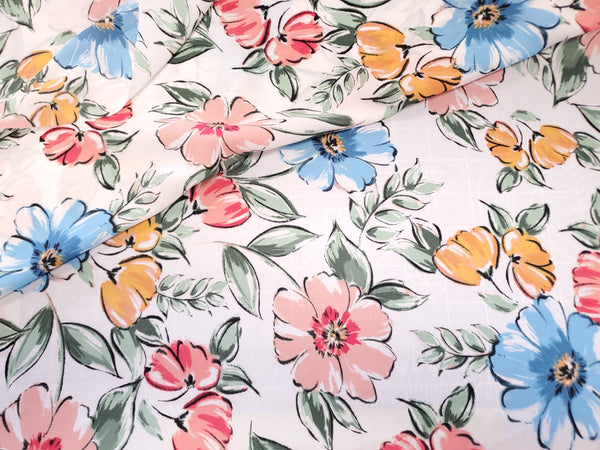 Sketch  Floral  Crepe  Apparel Fabric   By the Yard