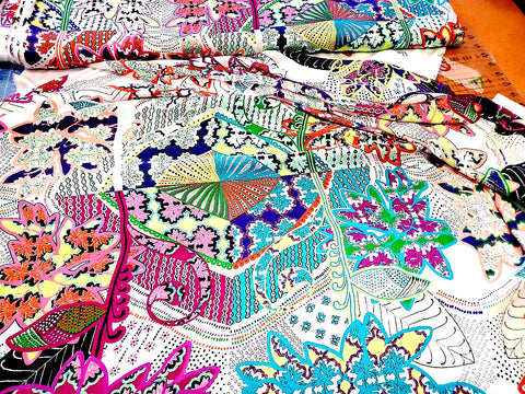 Ethnic Floral  Crepe  Apparel Fabric Abstract   By the Yard
