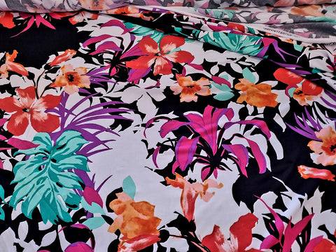 Tropical Floral and Ferns Lycra Jersey Knit Fabric  BY the Yard