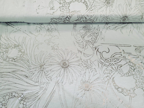 Rayon Cotton Silver Etched Jersey Fabric By the Yard
