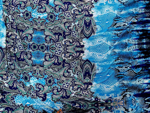 Paisley Floral Double Border Lycra Jersey Knit Fabric  BY the Yard