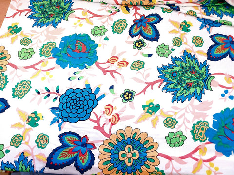 English Inspired Floral Lycra Jersey Knit Fabric  BY the Yard