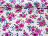 Midnight Poppy Cotton Fabric Purple Floral Benartex By the Yard