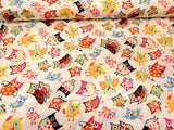 Little Owls and Flowers  Cotton Fabric  Hi Fashion By the Yard