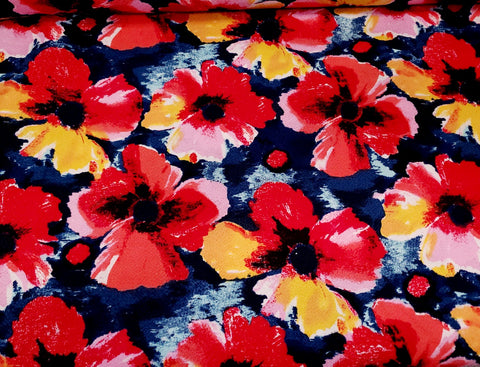 Poppy Floral Liverpool Knit Fabric  Flowers Crepe Knit By the Yard