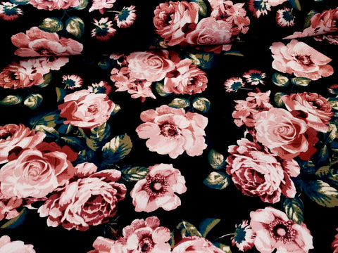 Rose Floral Liverpool Knit Fabric Spring Flowers Crepe Knit By the Yard