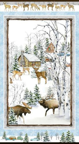 Snowy Wood Deer  Cotton  Henry Glass By the Panel