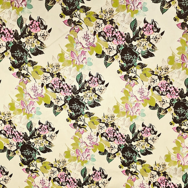 Bouquet Floral  Cotton Shirting Fabric Sateen By the Yard
