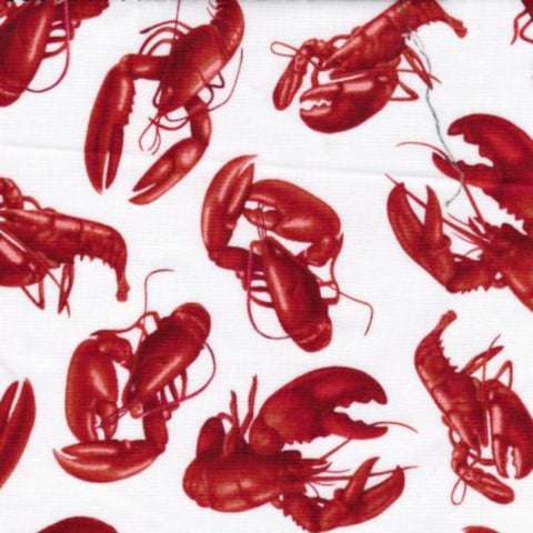 Lobster on White Cotton Fabric Fabric Arts  BY the Yard