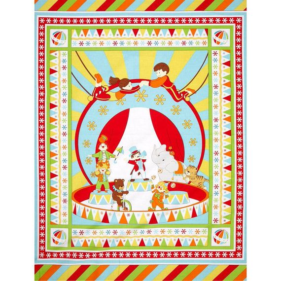 Under the Big Top Circus Children Benartex By the Yard Panel