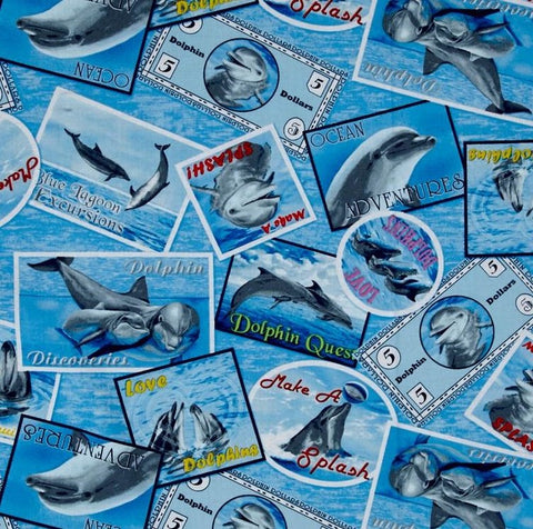 Make A Splash Dolphins Cotton Fabric Postcards Exclusively Quilters By the Yard