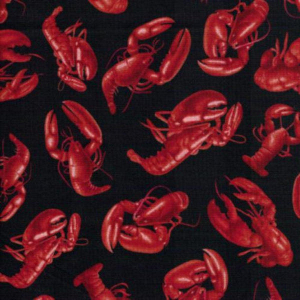 Lobster on Black Cotton Fabric Fabric Arts  BY the Yard
