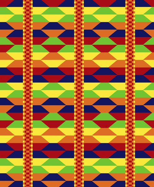 Ethnic Grace Cotton Fabric African Akan Weave  Digital Print David By the Yard