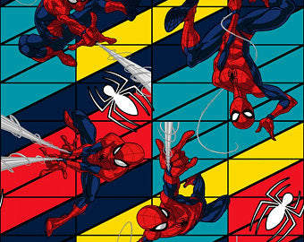 Spiderman Swing Cotton Fabric Comic Spring Creative By the Yard