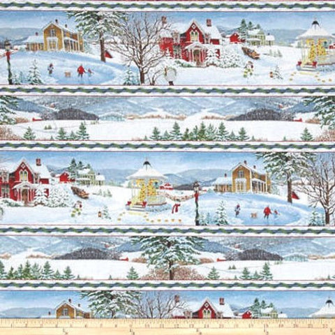 Christmas Eve Repeating Stripe Cotton Fabric Wilmington
