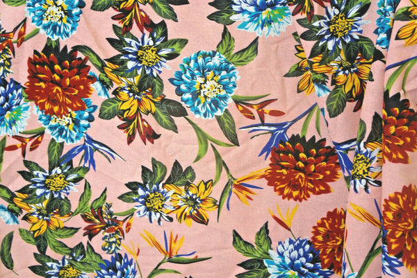 Floral Cotton Linen Blend Fabric Apparel  Summer Flowers Peach By the Yard