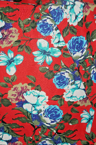 Floral Cotton Linen Blend Fabric Apparel Bold Summer Flowers By the Yard