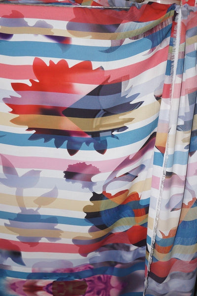 Stripe Abstract Polyester Designer Floral Fabric   By the Yard