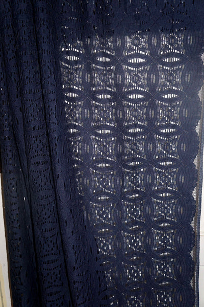Navy Blue Geometric Lace Apparel Fabric Special Occaion