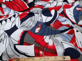 Abstract  Floral Lycra Jersey Knit Fabric Puff Accents   BY the Yard