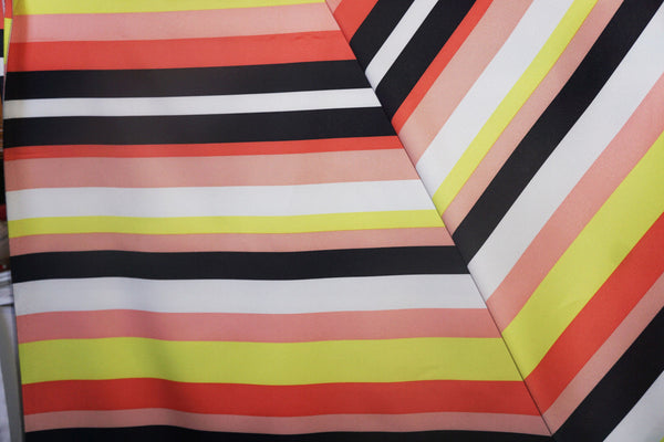 Stretch Satin Bold Stripe Peach Black