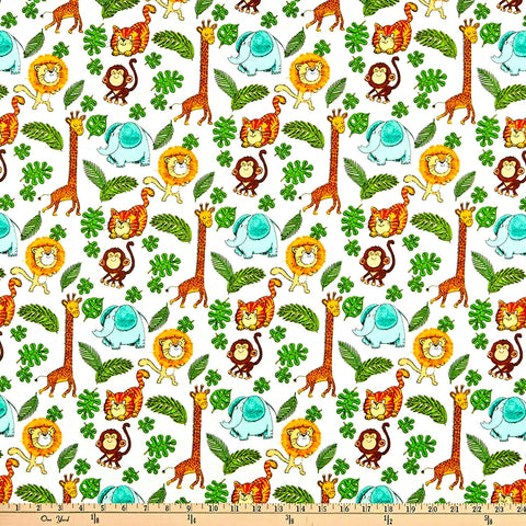 Playful Cuties Zoo Cotton Flannel Fabric 3 Wishes By the Yard