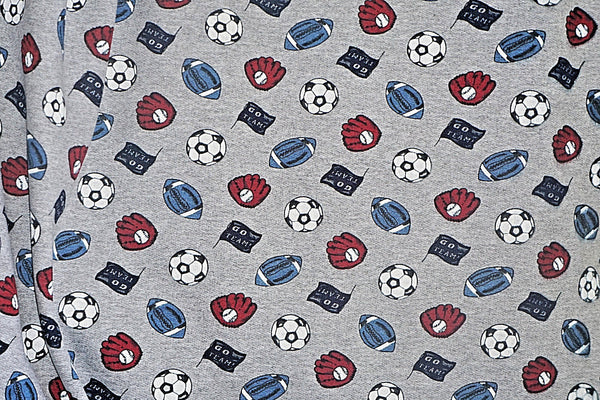 Sports Theme Poly Cotton Sweatshirt Fleece Fabric