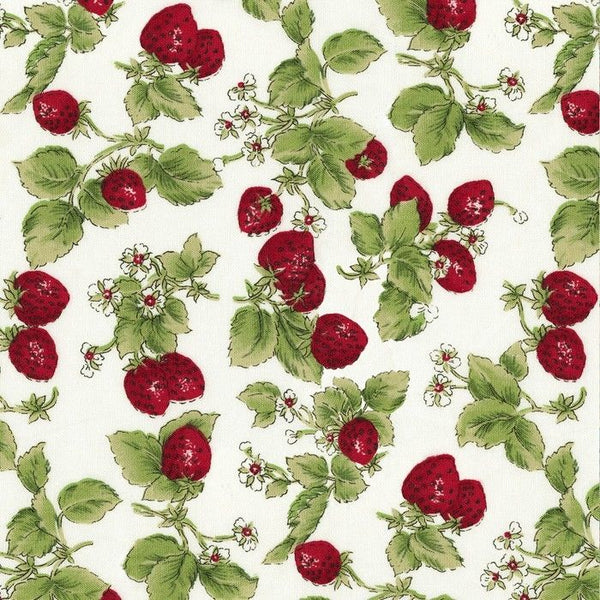 Strawberry with Leaves Cotton Fabric David Textiles By the Yard MVS
