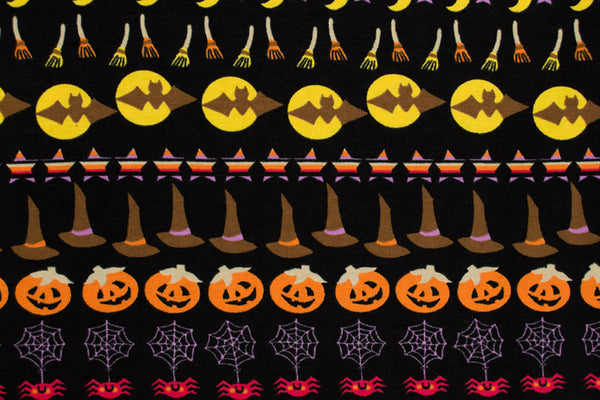 Halloween Stripe Cotton Knit Fabric Ghosts and Pumpkins   By the Yard