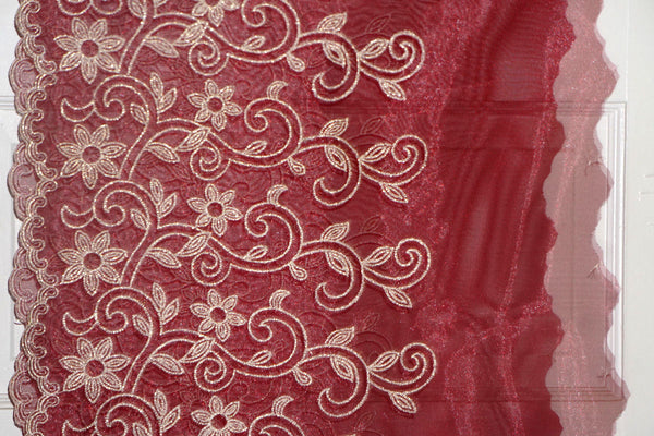 Organdy Embroidered Floral Fabric Maroon and Gold Special Occasion  By the Yard