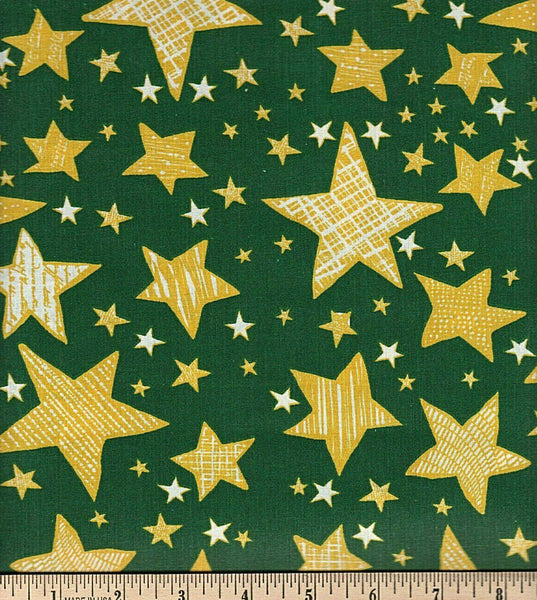 Fabric Tradition Stars Green   Cotton Sheeting Fabric BY the Yard