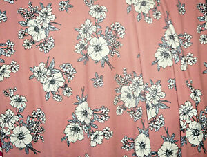 Sketch Floral  Lycra Jersey Knit Fabric Wild Rose  BY the Yard