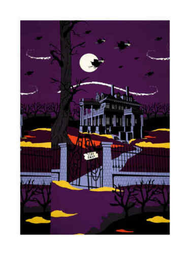 Haunted House Cotton Fabric Panel Riley Blake Halloween 23 by 44 Inches