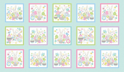 Some Bunny Loves You Easter Eggs  and Flowers White Cotton Fabric Benartex  By the Yard