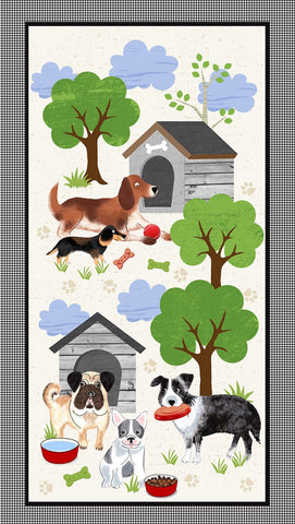 A Dog's Life Faded Dog House Panel Timeless Treasures