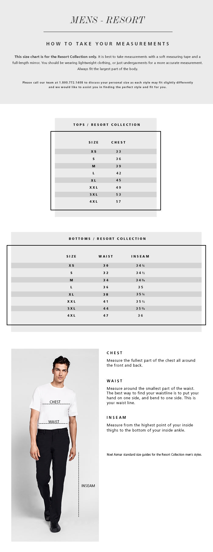 Men's Resort Collection Size Chart